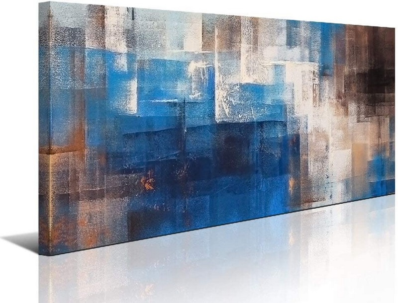 Blue Abstract Wall Art Picture for Living Room
