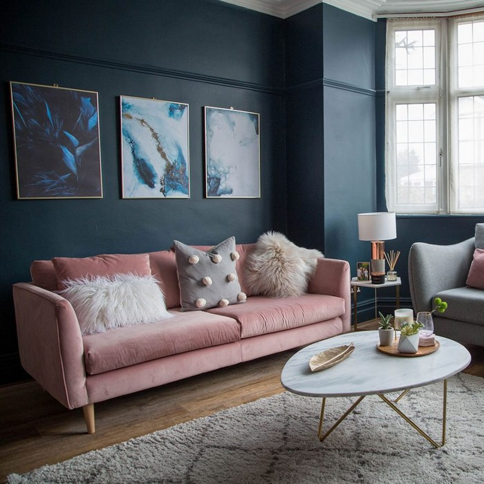 Blue living room ideas. Make pink feel grown up with inky blue
