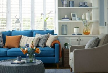 Start with a blue sofa