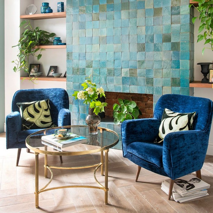 Blue living room ideas Tile a blue feature wall