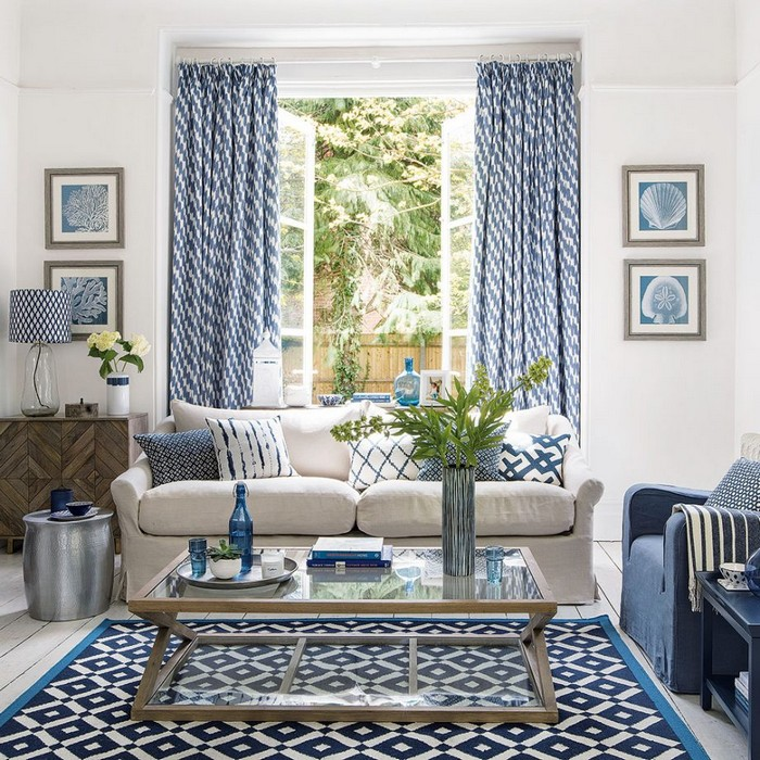 Blue living room ideas Experiment with pattern
