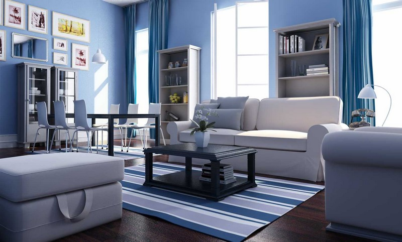 Living room blue wall decoration