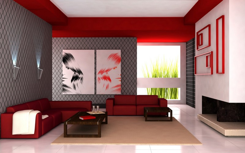 Red gray living room decoration