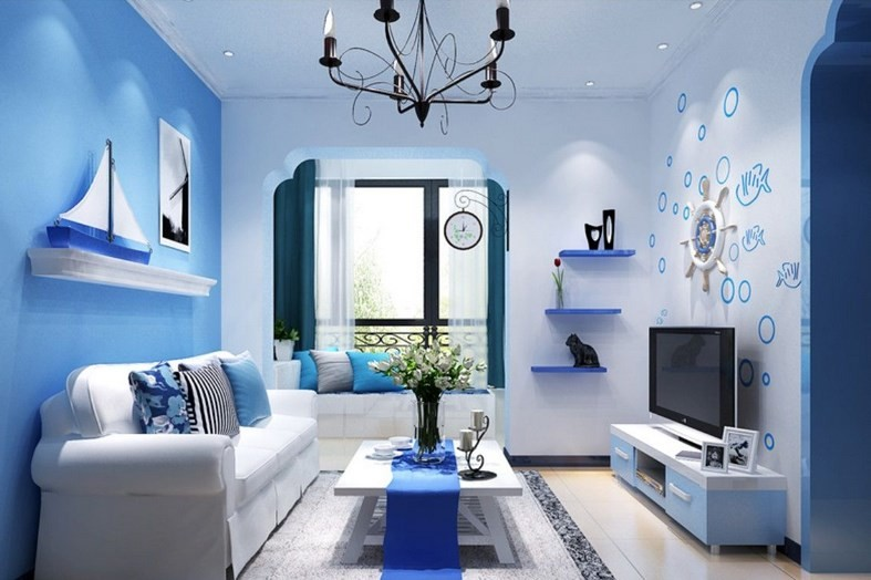 Blue wall decoration in a nautical style