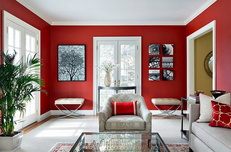 Living room decoration with red walls