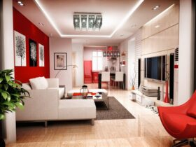 Red and white living room decoration