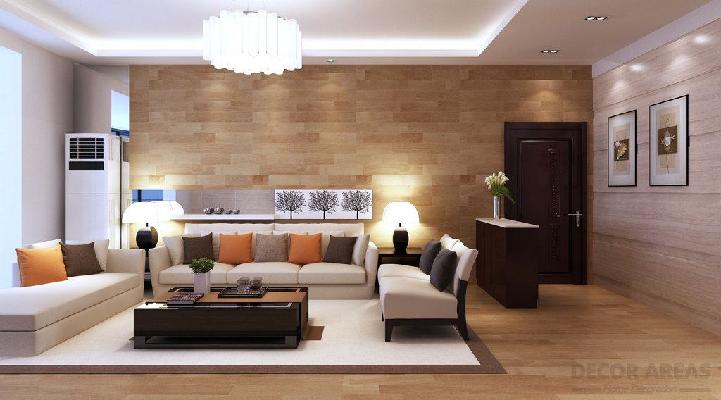 Coffee Color And White Living Room Design