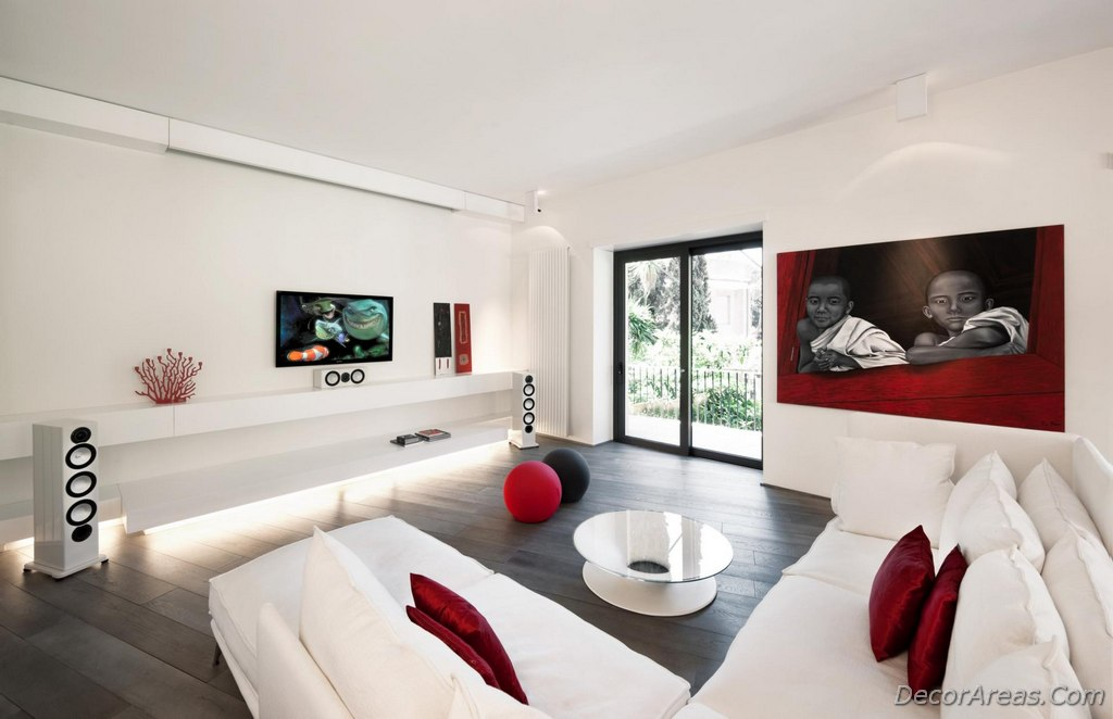 Aesthetic Looking Red and White Living Room