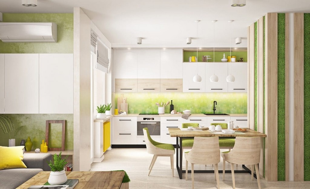 Green White Kitchen Design