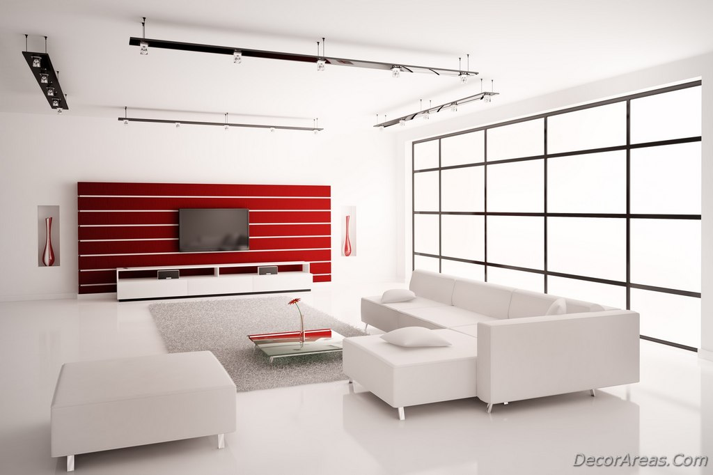 Minimalist White And Red Living Room Decoration