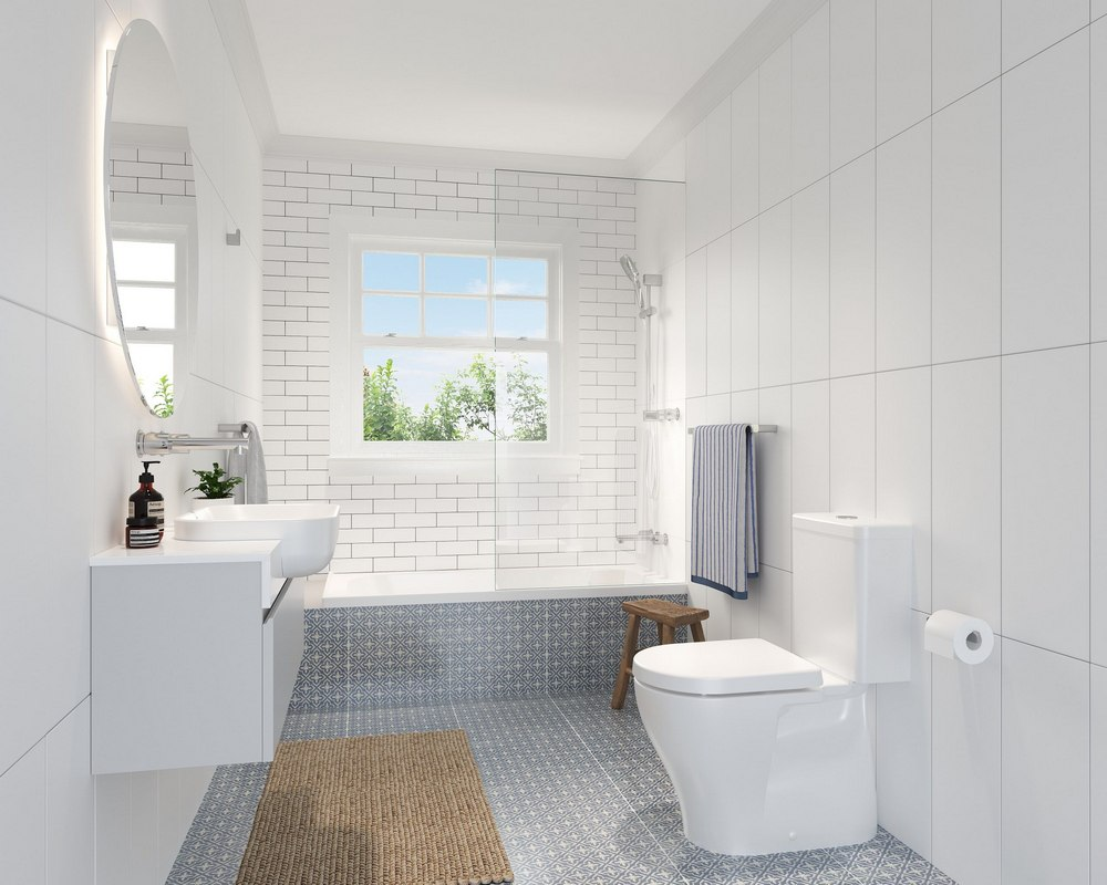 Small Bathroom With Light Colored Tiles