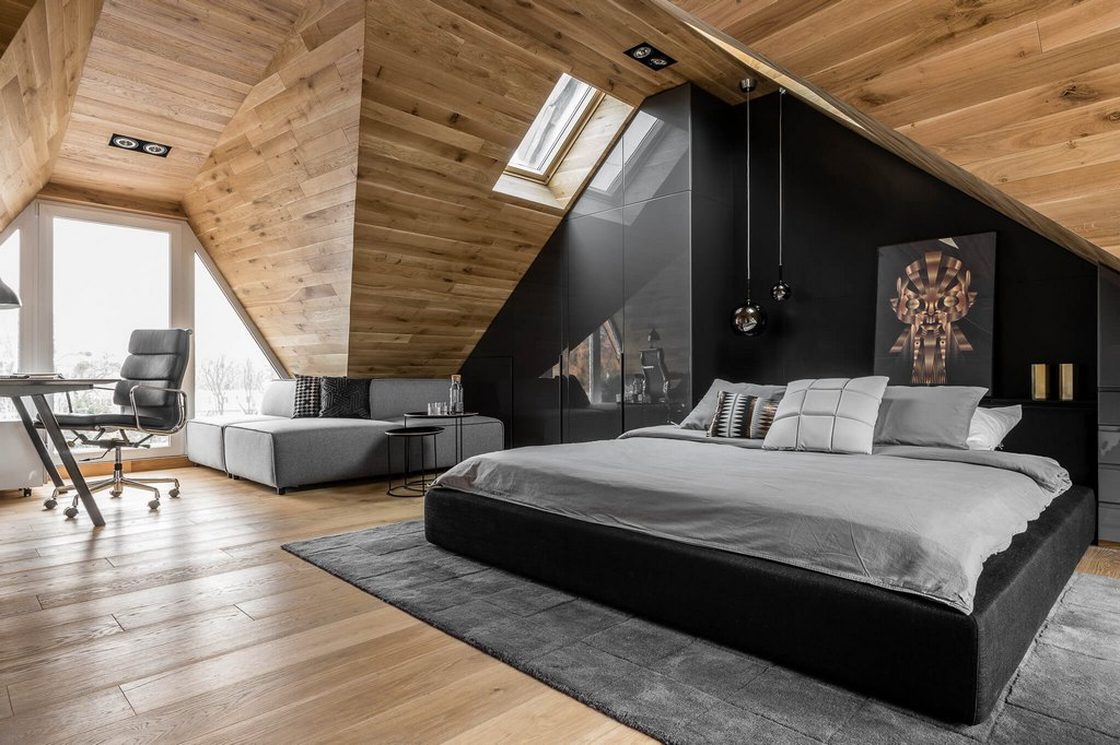Wooden And Modern Attic Bedroom
