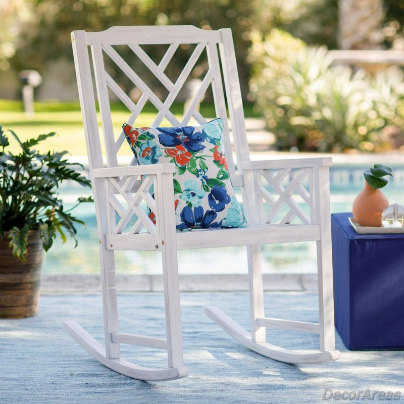 White Chippendale Outdoor Rocker