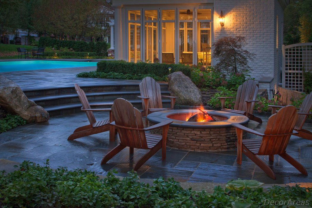 Deck In The Backyard With Fire Pit