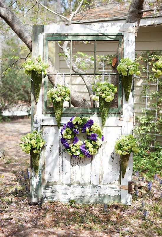 Decorating an Old Door with Flowers