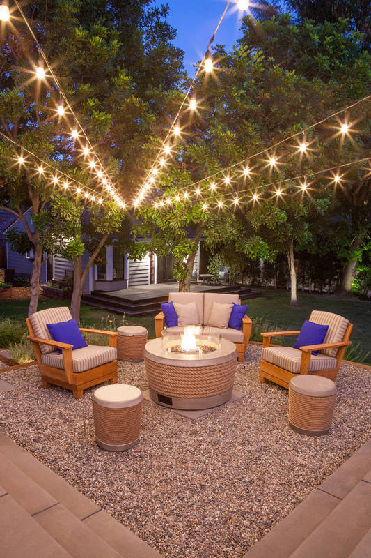 Fire Pit And String Lights In Outdoor