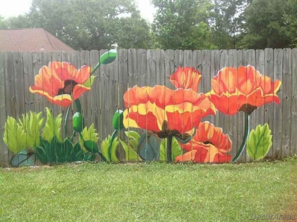 Flowers Painted On Fence