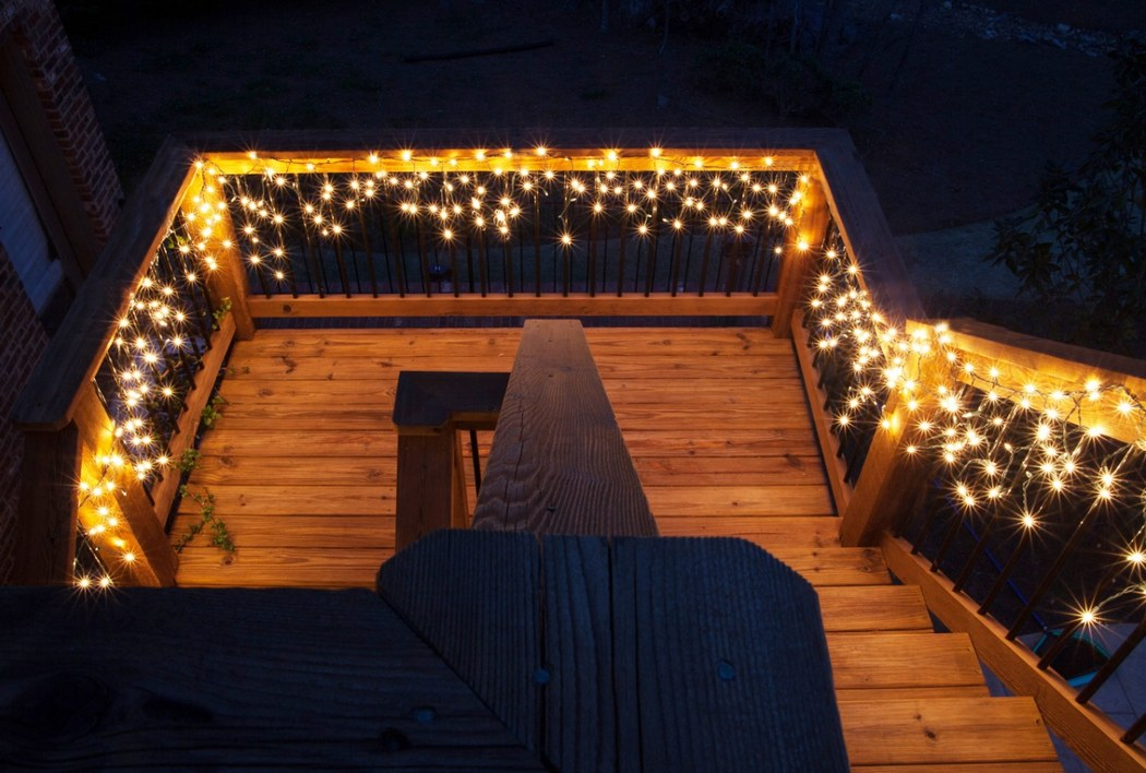 String Lights for Wooden Stairs