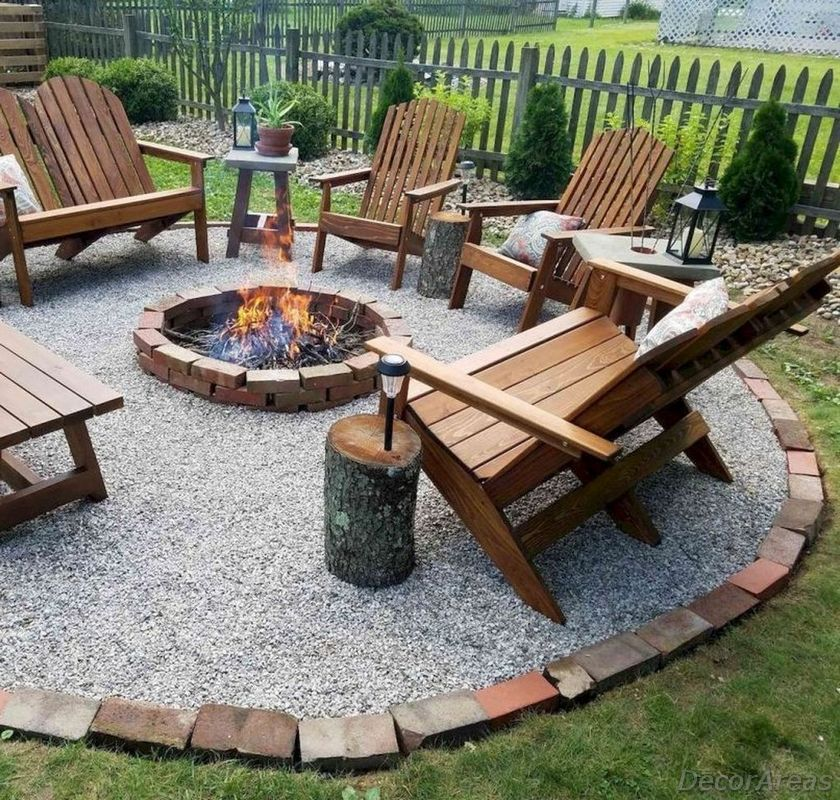 Wooden Benches Fire Pit