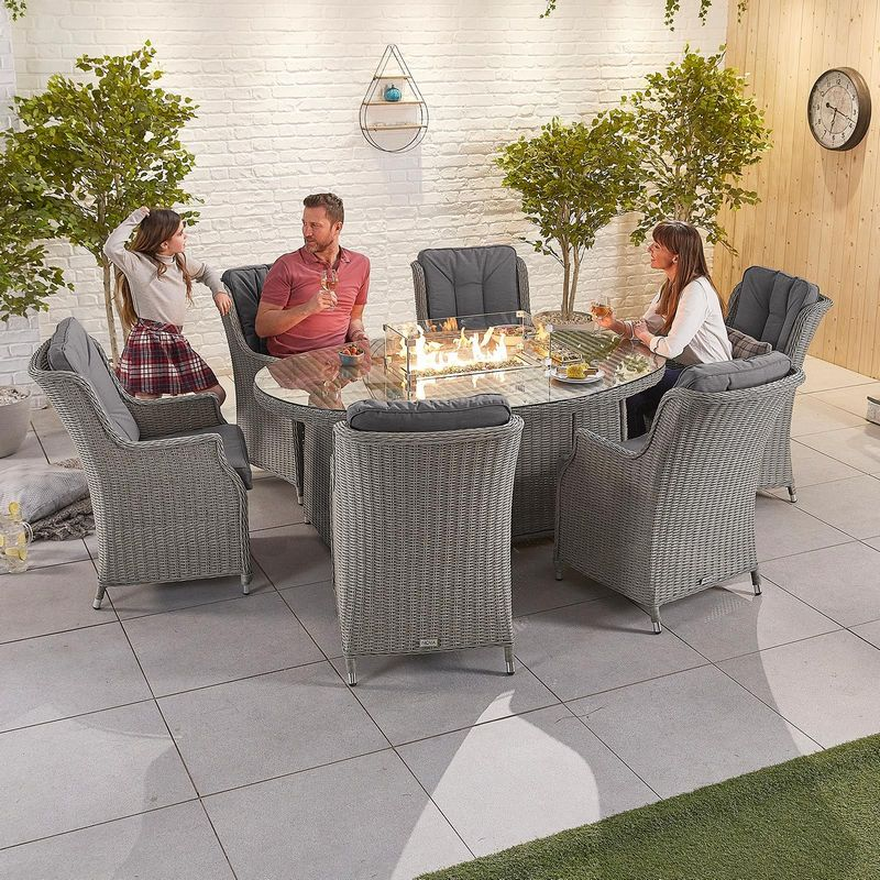 6 Person Fire Pit Dining Table