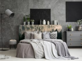 Black Bedroom Decor with Gray Walls