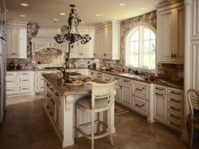 Gray Color Antique Kitchen Cabinets