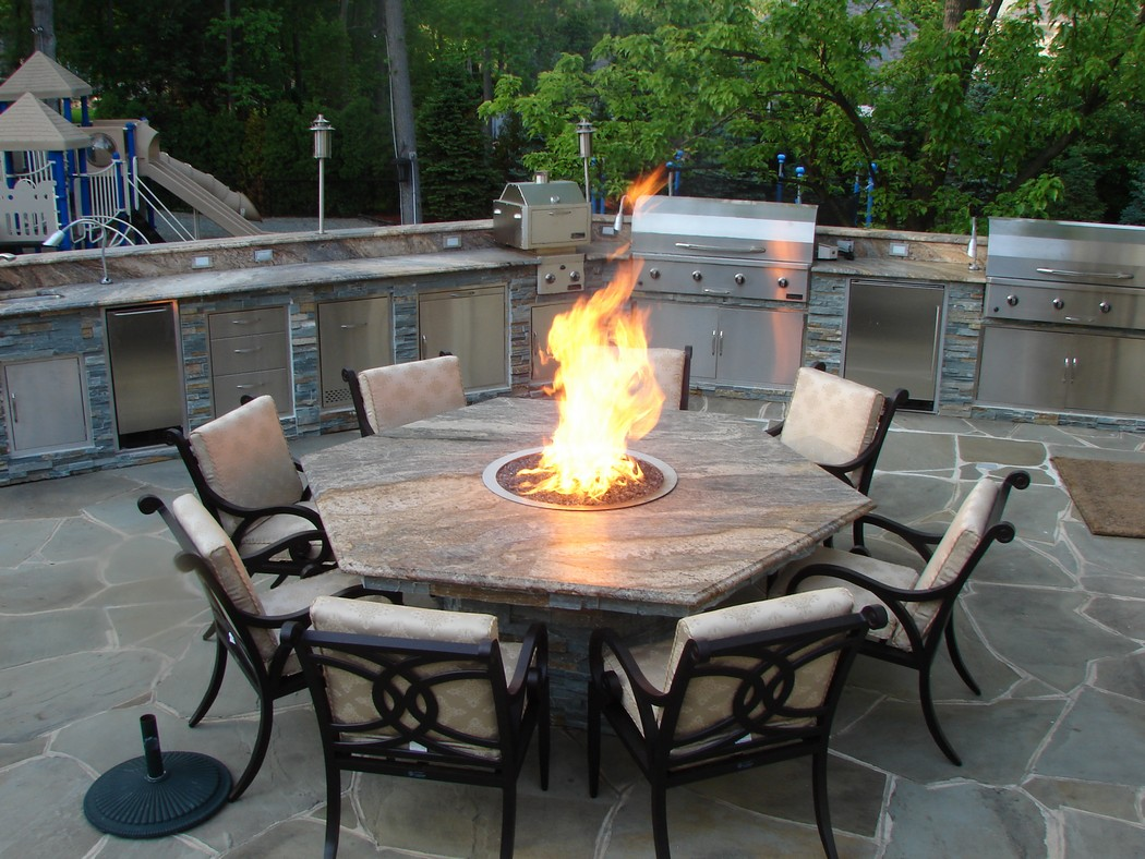 Hexagonal Fire Pit Dining Table