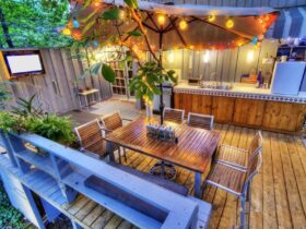 Lighting Ideas for a Wooden Courtyard