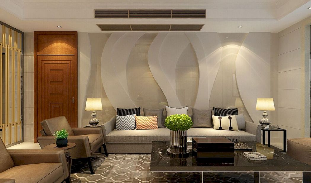 Living Room Decoration with 3D Wall Paper