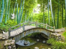 Natural Looking Wooden Garden Bridge