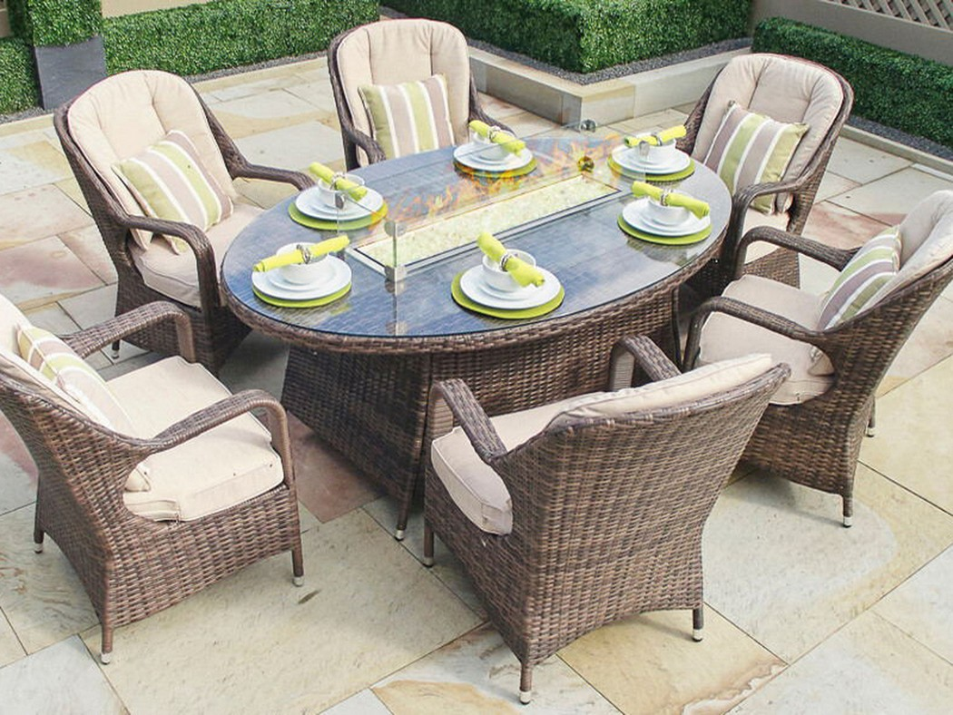 Outdoor Dining Set With Fire Pit