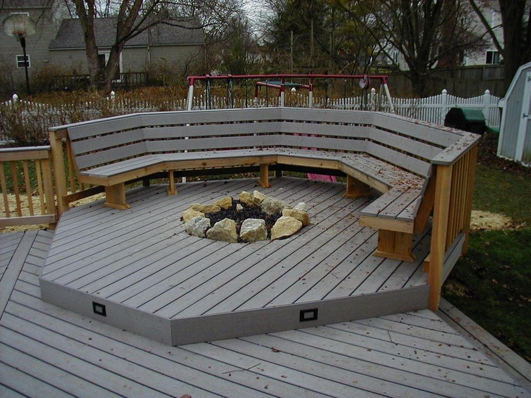 Recessed Fire Pit With Bench