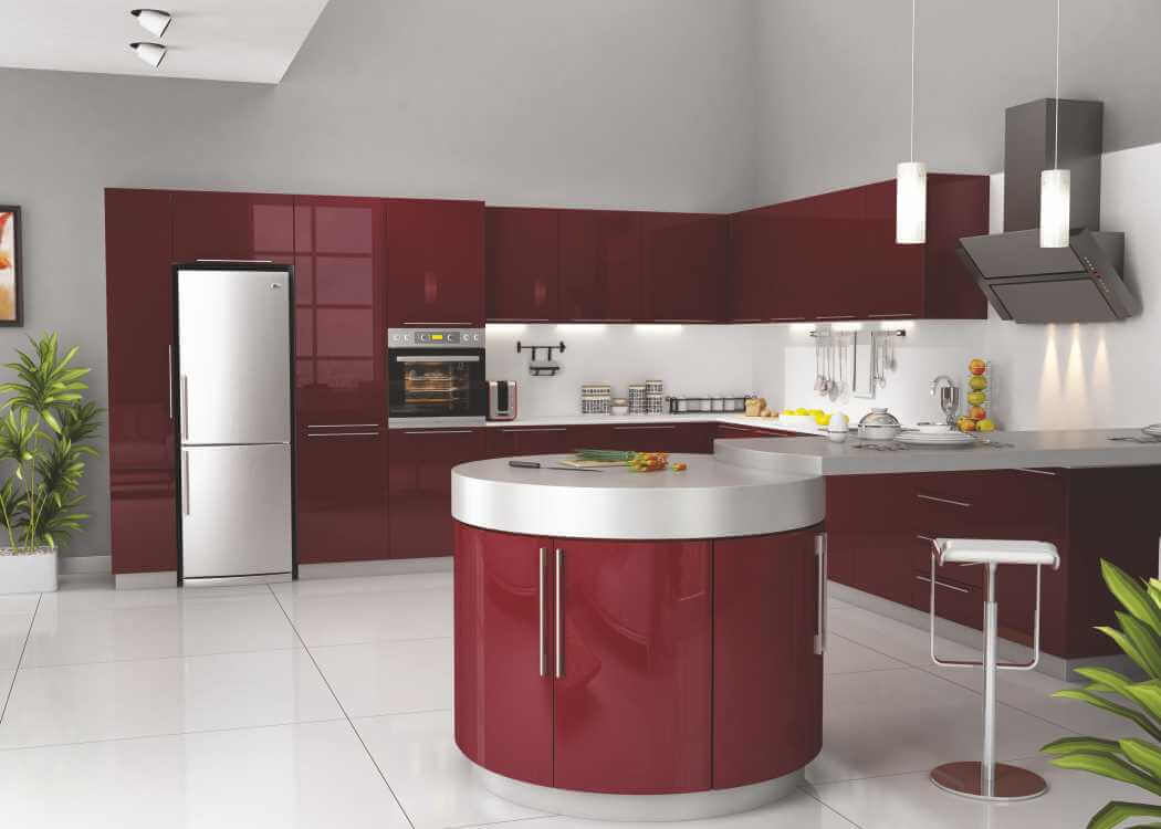 Red Kitchen Decor with Oval Design