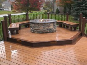 Wooden Deck Fire Pit Design
