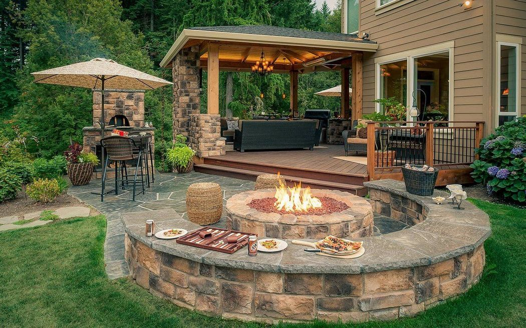 Fire Pit With Stone Wall Seating Home And Garden Decoration